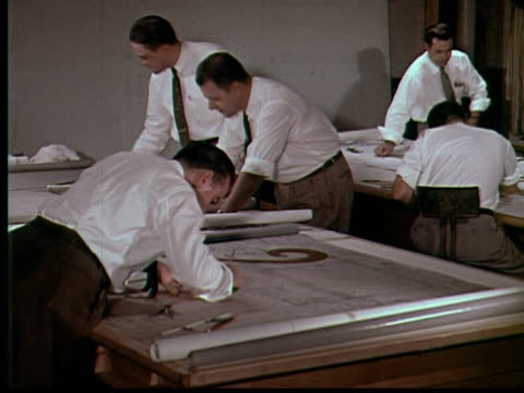 1955 ms several engineers working on drafting plans / usa - 1950 stock-videos und b-roll-filmmaterial