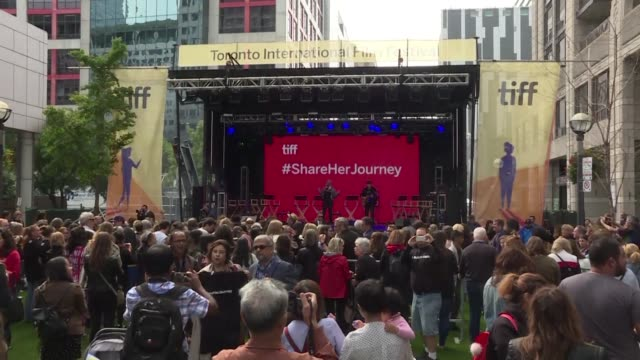 Several hundred people gather for a rally on the sidelines of the Toronto International Film Festival calling for gender parity in the film industry...