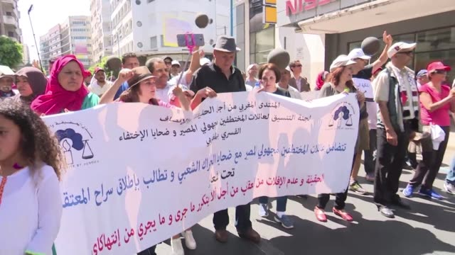 Several hundred people hold a march in Casablanca in solidarity with the arrested members of the Hirak protest movement with participants chanting...