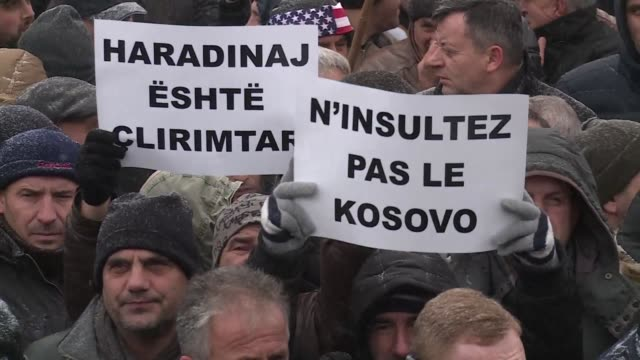 several hundred war veterans protest in front of the french embassy in pristina against the arrest in france of former premier ramush haradinaj on a... - request stock videos & royalty-free footage