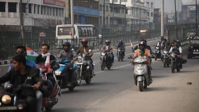 """Several hundreds of bike rally to mark the 70th Republic day as they shouts """" Bharat Mata ki Jay"""" in Guwahati Assam India on Saturday January 26 2019"""