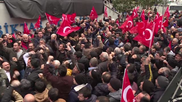 Several hundreds of people gather in front of Besiktas town hall to show their support for the district's high profile mayor after his dismissal by...