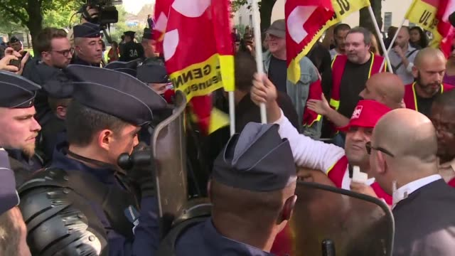 Several protesters waited outside a nursery just outside Paris on Tuesday where Emmanuel Macron was visiting to demonstrate against the decrease in...
