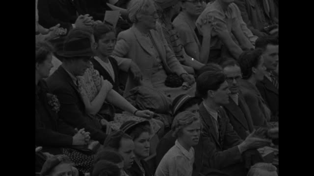 several shots of crowd at wimbledon watching action in wightman cup tennis competition between us and british women / note: exact day not known - international tennis federation stock videos & royalty-free footage