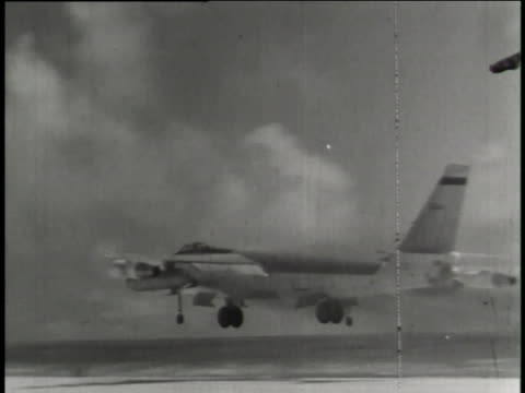 several soviet bombers, migs, and fighter jets take off from various airstrips. - bomber stock videos & royalty-free footage