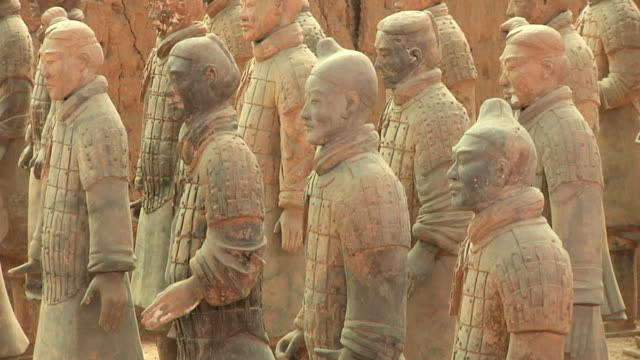 ms several terracotta warriors / xi'an, shanxi, china - stone material stock videos & royalty-free footage