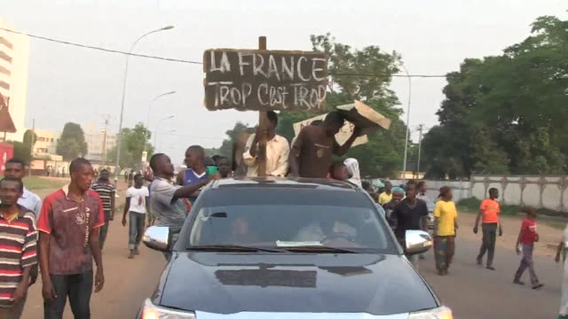 several thousand muslim supporters of the central african republic's former rebel group seleka protested sunday against french troops conducting a... - disarmament stock videos and b-roll footage