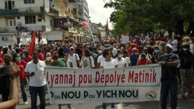stockvideo's en b-roll-footage met several thousand people demonstrate in martinique against the threat of prescription in the case of chlordecone, an insecticide accused of having... - franse overzeese gebieden