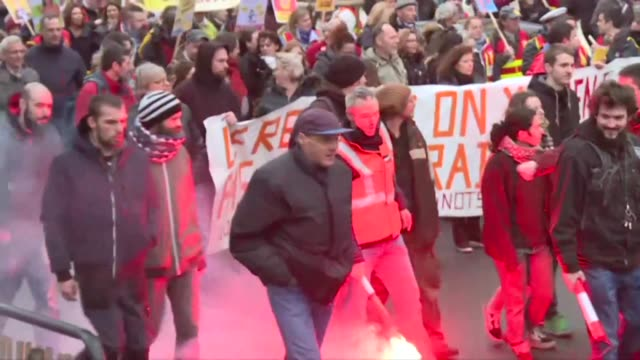 several thousand people take part in the start of the 4th inter professional day of demonstrations in nantes against the government's pension reform... - nantes stock videos & royalty-free footage