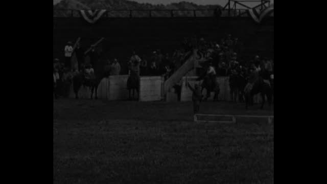 several views of cowboys bucking broncos, steer wrestling, and calf roping at hoot gibson's golden state ranch rodeo - bucking stock videos & royalty-free footage