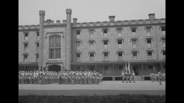 Several views of West Point courtyard with US Military Academy cadets marching in formation / Note exact year not known