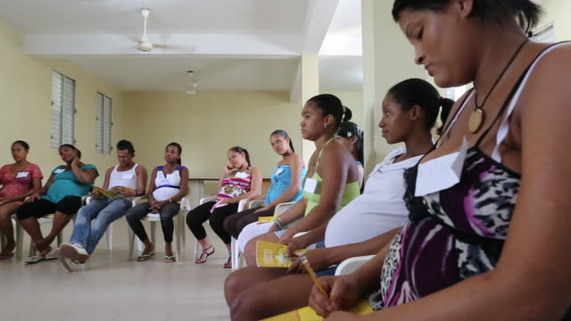 santa domingo dominican republic november 29 2012 several women participating at a educational lesson for pregnant women which is a part of the... - サントドミンゴ点の映像素材/bロール