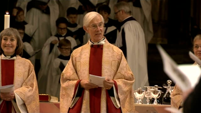 severe cold prevents archbishop of canterbury conducting the christmas service; england: kent: canterbury: int church service in progress robert... - archbishop of canterbury stock videos & royalty-free footage