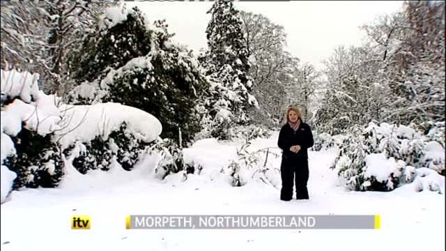 severe disruptions caused on roads and airports shut because of snow; england: northumberland: morpeth: ext / snow reporter to camera cutaways... - wide stock videos & royalty-free footage