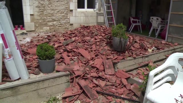 severe storms with hail the size of tennis balls caused extensive damage and resulted in one death in the southwestern french region of nouvelle... - nouvelle aquitaine stock videos & royalty-free footage