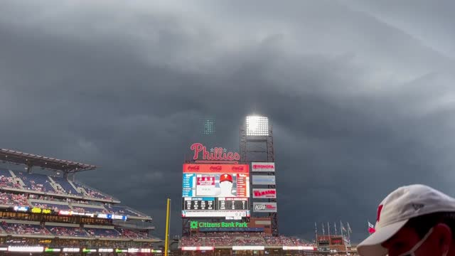 severe thunderstorm, philadelphia, phillies, rain, lightning, wind - philadelphia phillies stock videos & royalty-free footage