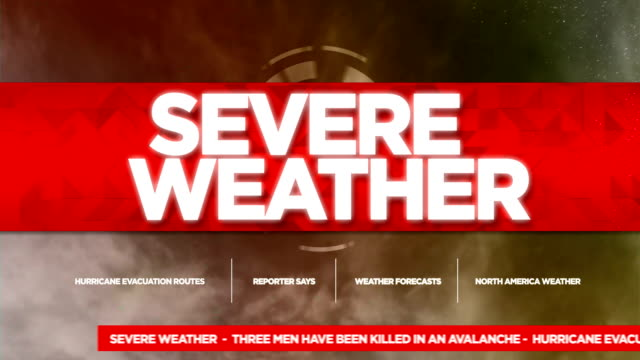 stockvideo's en b-roll-footage met severe weather alert uitgezonden tv graphics titel - meteorologie