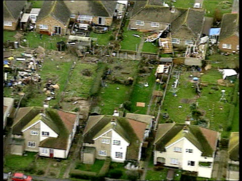 Severe weather C4N Selsey Elderly man looking at broken pots and ornaments in garden Elderly man intvw Both sides of house caught it at once/ lasted...