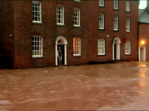 severely flooded street / tenbury wells worcestershire - tenbury wells stock videos and b-roll footage