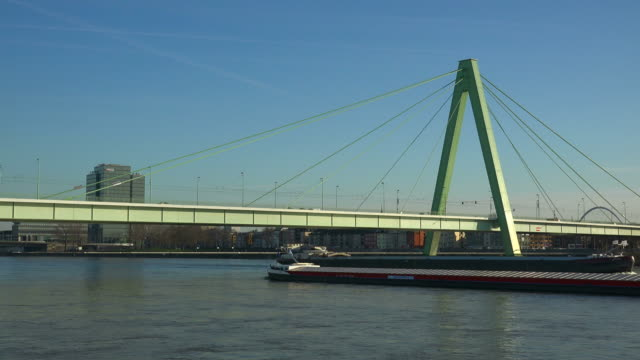 severin bridge and rhine river, cologne, north rhine-westphalia, germany - barge stock videos & royalty-free footage