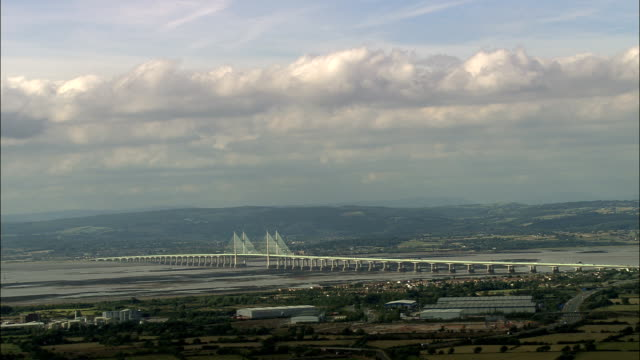 severn bridge - aerial view - england, gloucestershire, forest of dean, united kingdom - river severn stock videos & royalty-free footage