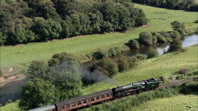 severn valley railway - aerial view - england, shropshire, united kingdom - valley stock videos & royalty-free footage