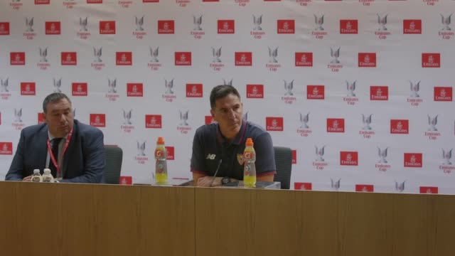 Sevilla Manager Eduardo Berizzo speaks at a press conference after his team beat Arsenal 21 in the final game of the Emirates cup Despite Sevilla...