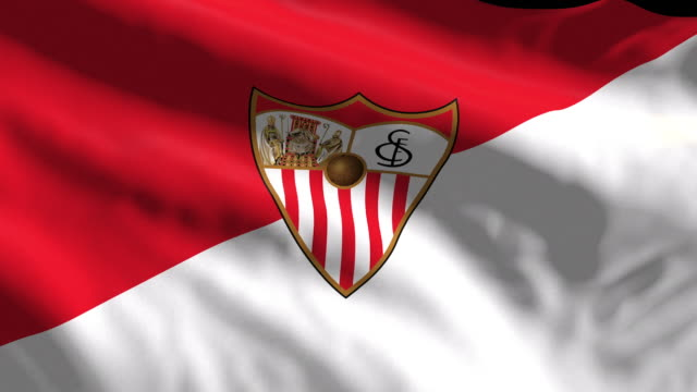 sevilla spanish soccer team flag waving computer generated animation for editorial use seamlessly looped and close up - loopable elements stock videos & royalty-free footage