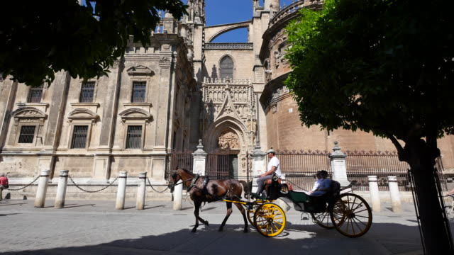 Seville cathedral with horse and carriage passing