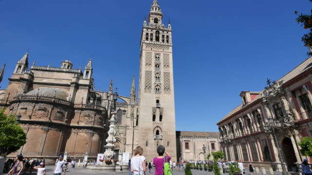 seville giralda tower by cathedral - circa 12th century stock videos & royalty-free footage