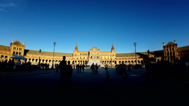 Sevilla sevilla plaza españa timelapse NO sunrise sunset zoom