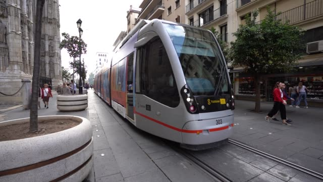 seville tram at 26th mtv europe music awards on november 03, 2019 in seville, spain. - mtv europe music awards stock videos & royalty-free footage