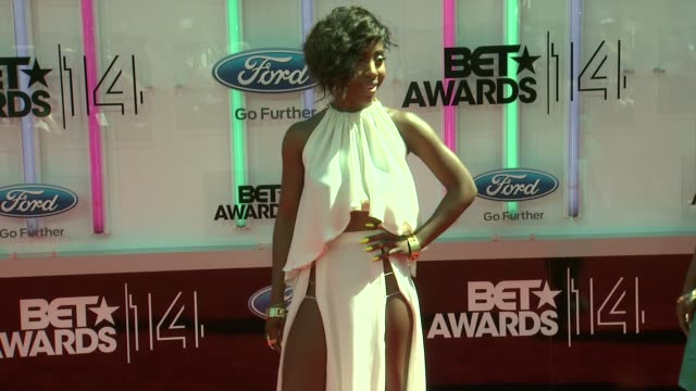 sevyn streeter at the 2014 bet awards on june 29 2014 in los angeles california - bet awards stock videos and b-roll footage