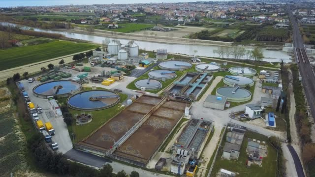 Sewage treatment factory in Italy - aerial view