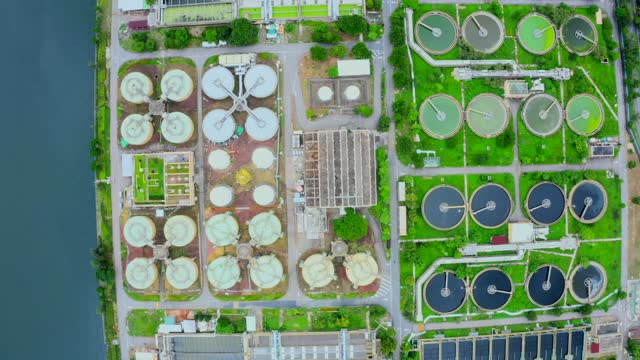 sewage treatment plant - aerial view - purified water stock videos & royalty-free footage