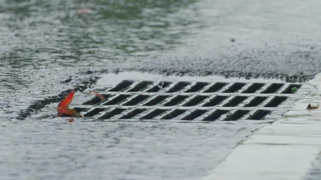 vidéos et rushes de égout dans le jour de pluie - bonde