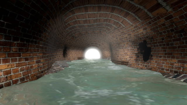 sewer tunnel with light at the end - sewage treatment plant stock videos & royalty-free footage