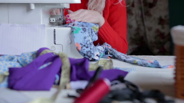 sewing clothing close up shot - sewing machine stock videos & royalty-free footage