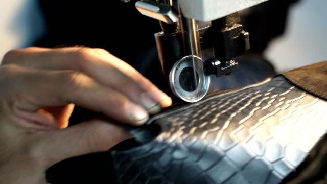 sewing leather - sewing machine embroider on the leather - making leather shoes - needle plant part stock videos and b-roll footage