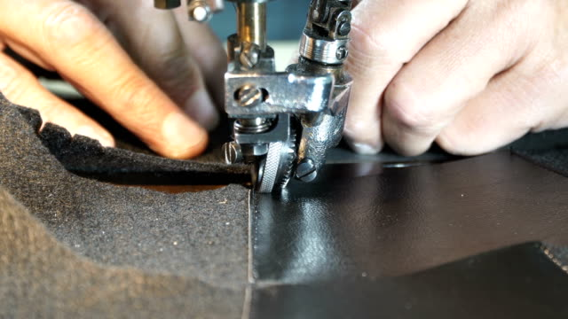 sewing leather - sewing machine embroider on the leather - making leather shoes - needle plant part stock videos & royalty-free footage
