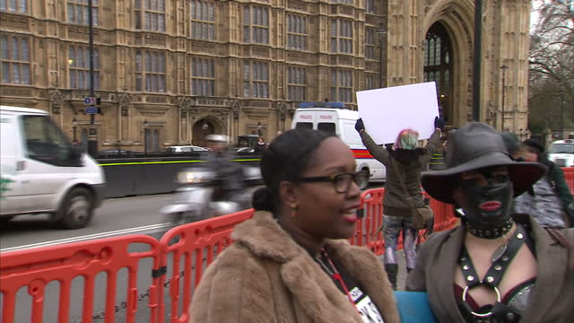 sex workers and campaigners have gathered in front of parliament to protest against changes to uk pornography regulations. shows protester dressed as... - モンティ・パイソン点の映像素材/bロール