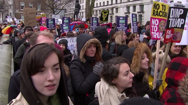 Time's Up demonstrations ENGLAND London Whitehall EXT Various shots women protesting against sexual harassment as part of Time's Up protests /...