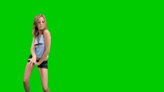 Sexy dancing girl on chroma key