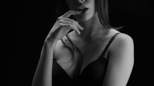 sexy girl movements. perfect fashion models face. black & white fashion video. - viraggio monocromo video stock e b–roll