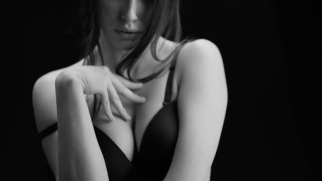 Sexy girl movements. Perfect fashion models face. Black & White fashion video.