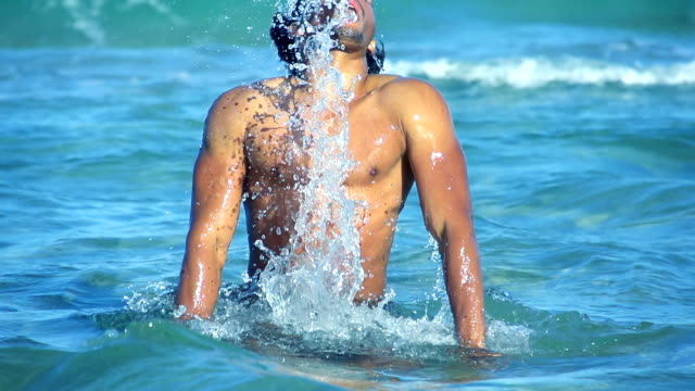 HD SUPER SLOW MO: Sexy Man Flipping Hair In Water