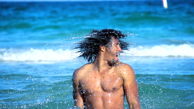 HD SUPER SLOW MO: Sexy Man Shaking Hair In Water
