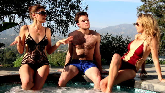 sexy threesome in hot tub - health spa stock videos and b-roll footage