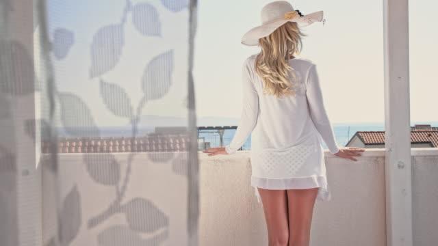 slo mo sexy woman enjoying the summer breeze - white shirt stock videos & royalty-free footage