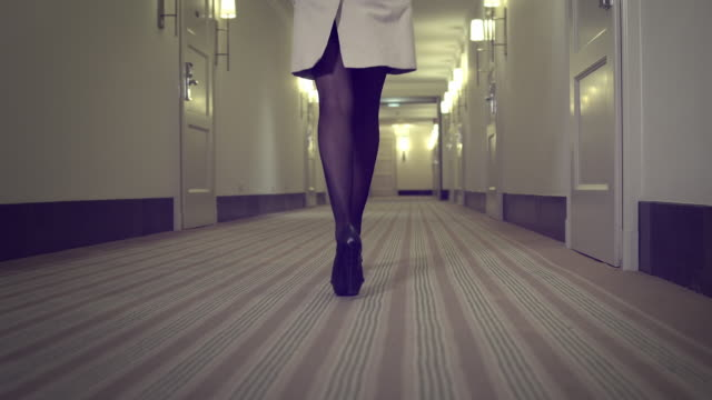 sexy woman in hallway - stockings stock videos & royalty-free footage